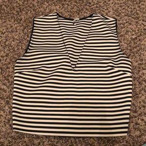 Zara black & white strip crop top - size 6.